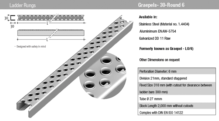 Ladder rungs non slip perforated